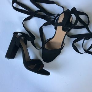 Black Suede Tie Up Mossimo Heels